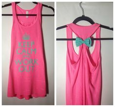 Neon Pink with Mint Bow Keep Calm and by GlamUpFitnessApparel, $27.95