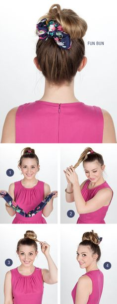 Vera fun bun : 1. Fold the scarf corner to corner into a triangle. Then repeat until you reach the desired width. 2. Pull hair into a high ponytail. Twist and wrap around the elastic to form a bun. Use bobby pins to secure.  3. Wrap the scarf around the base of the bun. Tie the loose ends into a bow in the back. 4. Tuck in the loose ends, if desired.