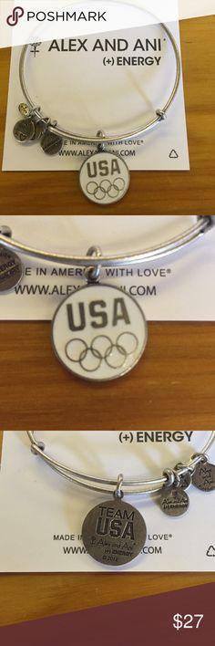 Retired Team USA 2012 5 Ring Olympic bracelet Retired 2012 Team USA 5 Ring White Enamel and silver bracelet❤️ Alex & Ani Jewelry Bracelets