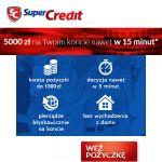 Pożyczka Super Credit jest dostępna w dwóch wariantach, jako ratalna oferowananawet do 5000 zł na okres od 2 do 12 miesięcy oraz chwilówkaosiągalna w wysokości od 100 do 1500 zł na okres od 15 do 45 dni. Obie pożyczkiSuper Creditsą udzielane również dla osób ze złą historią