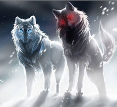 From left to right.Diamond:white wolf with blue eyes,shy, friendly,adventurer and beautiful,hates how people only like about her looks, sister of Garnet.Power:light.Garnet:black wolf with red eyes,brave, cunning,stubborn,but over ambitious.Power:Dark  sister to Diamond