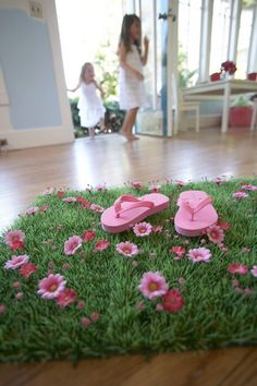 Heart to Heart Grass Mats; very cute decor idea for any little girls bedroom or playroom area
