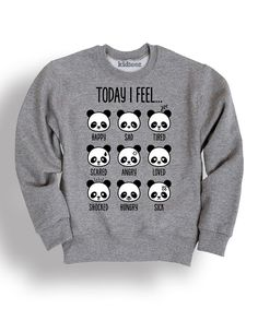 Heather Gray 'Today I Feel' Panda Sweatshirt - Toddler & Girls by Mokuyobi Threads #zulily #zulilyfinds