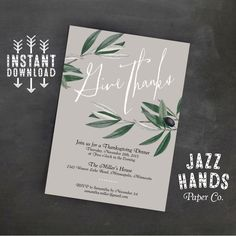 Thanksgiving Invitation Template | DIY Printable | Thanksgiving Feast | Thanksgiving Dinner Invite | Thanksgiving Party by JazzHandsPaperCo on Etsy https://www.etsy.com/listing/253976831/thanksgiving-invitation-template-diy