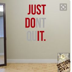 """Cheap mural picture, Buy Quality mural ceramic directly from China mural stencils Suppliers: """"JUST DONT QUIT"""" Gym Workout Motivation Quote Words Vinyl Wall Art Sticker Wallpaper Mural Home Decoration JUST DO IT Basement Gym, Garage Gym, Dont Quit Quotes, Quitting Quotes, Motivacional Quotes, Gym Interior, Interior Design, Co Working, Workout Rooms"""