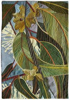 In My Portfolio: Bush Telegraph - Ruth de Vos : Textile Artist Textile Fiber Art, Textile Artists, Landscape Art Quilts, Landscapes, Flower Quilts, Thread Painting, Silk Painting, Leaf Art, Applique Quilts
