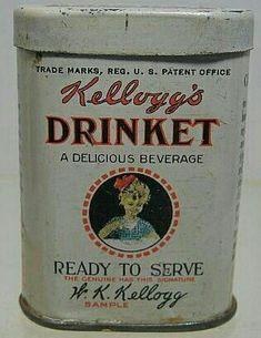 vintage 1915 Sample Kellogg`s Drinket Miniature TIN Vintage Jars, Vintage Stil, Vintage Labels, Vintage Love, Retro Vintage, Vintage Kitchen, Spice Tins, Tin Containers, Vintage Packaging