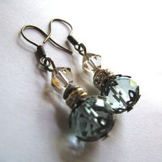 Mist over Venice - Romantic Drop Earrings with Aquamarine Crystal in Antiqued Gold, With Swarovski A Personalized Jewelry, Handmade Jewelry, Unique Jewelry, Handmade Gifts, Christmas Jewelry, Diy Christmas, Aquamarine Crystal, Website Ideas, Arts And Crafts Projects