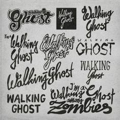 Sketching logos for 'Walking Ghost' by Tilo Göbel, via Behance