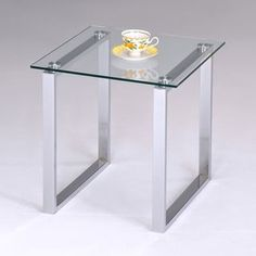 K&B Glass and Chrome End Table | Overstock.com Shopping - The Best Deals on Coffee, Sofa & End Tables