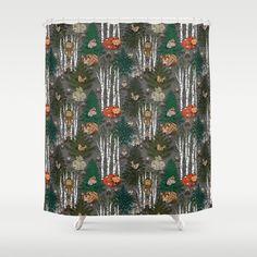 Sleepy Scandinavian Forest Bathroom Shower Curtain by Irishvikingdesigns - by Bathroom Curtains, Shower Curtains, Tree Interior, Interior Design, Holiday Ornaments, Christmas Decorations, Small Bathroom Layout, Ornament Tree, Hooks