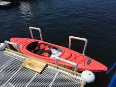 The Boathouse: a new definition to lakefront living! Kayak Rack, Kayak Storage, Kayak Camping, Kayak Fishing, Lake Rafts, Lake Toys, Kayak Trailer, Floating Dock, Lake Cottage