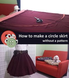 This full circle skirt is made of two half panels with two seams. It has an elastic waistband, and a narrow hem. Includes a free pocket pattern, and circumference chart.