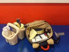 Mobile mark making, one in a cleaning caddy, one in a small child friendly rucksack, children can then take mark making into any area they want to use it  EYFS