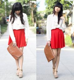 Loving you is RED. <3 Dotted blouse, red skater skirt, Guess wedge and brown envelope bag.  A perfect smart casual look or just something romantic/flirty outfit.