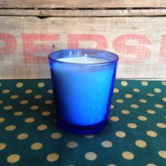 Capri Blue Volcano Type  Cobalt Blue Glass Soy Candle  by reSOYcle