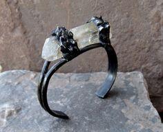 Quartz Crystal Bracelet Bangle Cuff Large Crystal Clear Punk Rocker Goth Gothic Gypsy Indie Rocker Boho Bracelet Cuff Brass oxidized Rocker  by ShopSparrow, $42.99