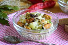 Готовый салат с мидиями
