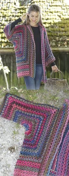 granny square poncho Free Crochet Pattern for a Granny Glam Kimono Jacket. Skill Level: Easy Crochet kimono jacket crocheted with double crochet groups and lace pattern. Free Pattern More Patterns Like This! Blouse Au Crochet, Poncho Crochet, Pull Crochet, Crochet Stitches, Free Crochet, Double Crochet, Crochet Sweaters, Free Knitting, Knitting Patterns