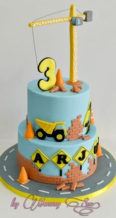 Another fun cake I made with a Construction Themed cake. The tower crane was made of fondant and is edible. The celebrant love his cake so much as well as the parents and guests! Fancy Cakes, Cute Cakes, Bolo Musical, 3rd Birthday Cakes, Happy Birthday, Novelty Cakes, Cakes For Boys, Love Cake, Cake Creations