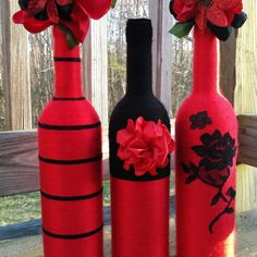 Wine Red & Midnight Yarn Bottle Set Handmade by Simina Banana To purchase, visit my shop https://www.etsy.com/listing/228107370
