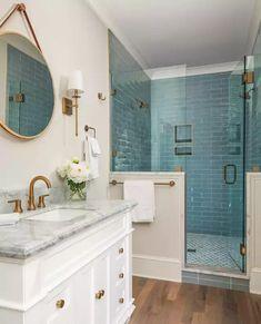 Glass Tile Bathroom, Blue Glass Tile, Bathroom Renos, Small Bathroom, Glass Tiles, Frameless Glass Shower Doors, Teal Bathrooms, Modern Bathroom Tile, Bathroom Vanities
