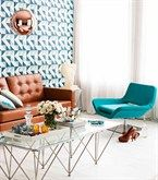 Gorgeous aqua wallpaper works beautifully with the contrast of tan and our Glam chair looks hot in this space!  http://www.lifeinteriors.com.au/online-shop/lounge-chairs/glam-lounge-chair