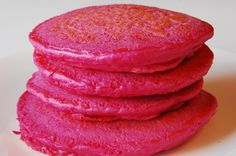 Pink pancakes! No food coloring yay! Can't wait to make these for Valentine's Day with my little guy!!