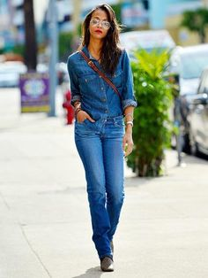 Zoe Saldana. Would you wear all denim. Zoe looks super cute and casual.