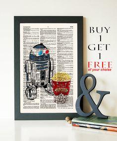 R2d2 Print- R2d2 Retro Star Wars Poster- Nerd Poster- Old School Movie Geekery Print-Dictionary Print- Robot Pop corn-code 317 by demeraki on Etsy