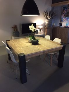 Square Dining Tables Ideas For Your Modern Dining Room. Yellow Living Room Furniture, Yellow Dining Room, Dining Room Furniture, Room Chairs, Square Dining Tables, Dining Room Table, Wood Table, Dining Rooms, Diner Table