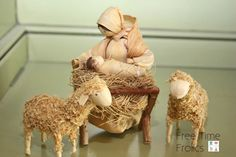 This is a pic of a corn husk nativity she bought in the Prague.  I love the manger Jesus is in.