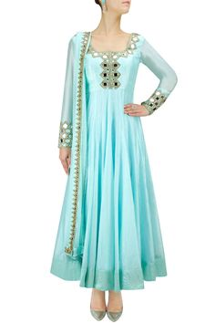 Ice blue mirror work anarkali set available only at Pernia's Pop-Up Shop.