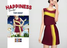 "Happiness Seulgi Top + Skirt • New meshes / EA mesh edits • Category: top (women), bottom (women) • Age: teen / young adult / adult / elder • 4 swatches (top), 4 swatches (skirt) • Suggested by anonymous Download: ""Top:  SimFileShare Skirt:..."