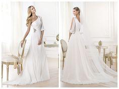 Stunning One-shoulder Draped A-line Wedding Dress with Opened Shoulder-length Sleeve