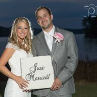 """Sweet Couple!  We supplied the """"Just Married Sign"""" for great memory photos.  Bride used them for her Thank You Cards!"""