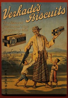 Indonesia ~ Verkade Old advertising from the Dutch colonial era. The man in the picture is wearing Javanese costume. Vintage Advertising Posters, Old Advertisements, Vintage Travel Posters, Vintage Ads, Vintage Ephemera, Holland, Indonesian Art, Old Commercials, Dutch East Indies