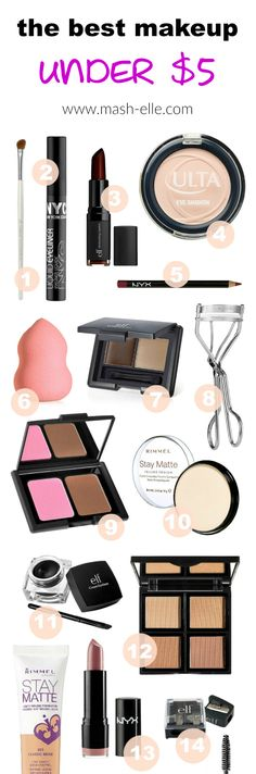 A list of the BEST makeup all under $5! From foundation to lipstick, lip liner, beauty brushes, blush and eyeshadow, these affordable makeup items will be on your wish list! Many items listed are dupes of luxury beauty items! Beauty blogger Mash Elle features an assortment of brands such as Loreal, NYC, NYX, Ulta, Milani, Rimmel, Wet n Wild and so much more!