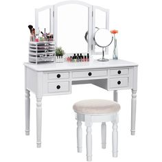 SONGMICS Vanity Set Tri-folding Mirror Make-up Dressing Table Cushioned Stool 5 Drawers White - List for Home and Garden Products White Vanity Table, Vanity Table Set, White Vanity Bathroom, Vanity Set, Mirror Vanity, Mirror Set, Bathroom Vanities, White Dressing Tables, Dressing Table Set