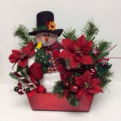 Snowman Centerpiece Fireplace Mantle Display Floral Poinsettas Winter Christmas #Handcrafted