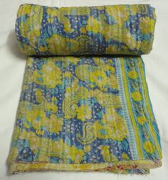 Antique Designer Handmade new Kantha Quilt Ralli VIntage old bangali patchwork printed Gudari Decor bed cover floral flower throw bedspread by textileszone on Etsy