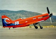"Reno - 1991 - Unlimited Class - North American Aviation P-51D Mustang (#18) ""TSUNAMI"" Steve Hinton Jr Finished 3rd (Gold) Speed 478.140 mph"