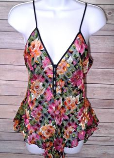 3458bcb490 Victorias Secret Gold Label Lingerie Body Suit Teddy Cami Sheer Pink Floral  L