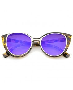 2ef0303fca Women s Open Metal Insert Colored Mirror Lens Cat Eye Sunglasses 51mm -  Tortoise-gold   Purple Mirror - C312KUKI92H