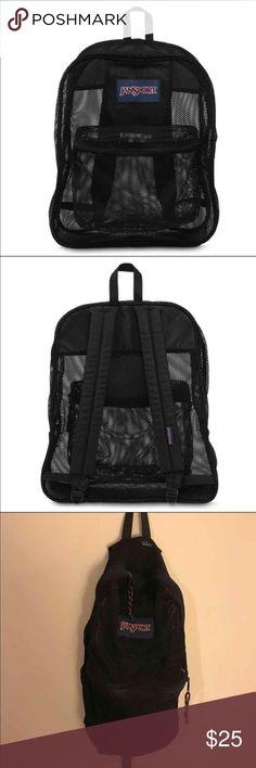 Black mesh Jansport backpack All black mesh backpack with 2 pockets 1 large one and 1 smaller front  pocket - straps are adjustable Jansport Bags Backpacks