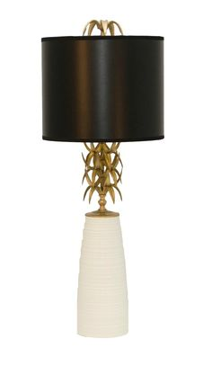 The Ro Sham Beaux Ananas White table lamp offers an Art Deco era style for a modern theme. Created in a powder coat white base, with brass leaves, finished with a white shade.