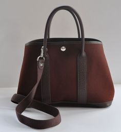 Hermes: Authentic Hermes Marron Garden Party Bag With Strap 30cm   MALLERIES