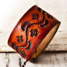 Leathercraft Jewelry Tooled Leather Cuff by rainwheel on Etsy, $35.00