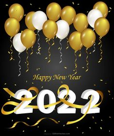 Free Happy New Year 2022 Gold Balloons on Black Background