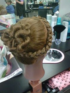 Braided * twisted up-do